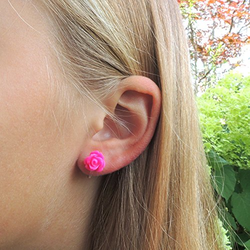Pretty Smart earrings bright pink 9mm rose on metal free plastic posts