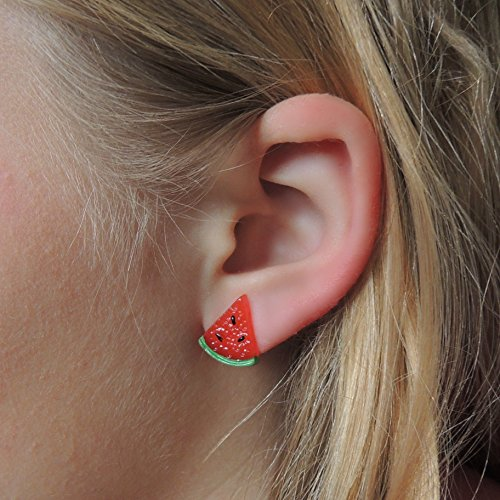 Watermelon Earrings, Metal Free Plastic Post Studs for Metal Sensitive Ears