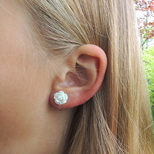 Flower Girl bridal party 10mm white rose stud earrings