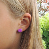 Plastic Posts or Invisible Clip On Metal Free Frosted Rose Earrings 10mm