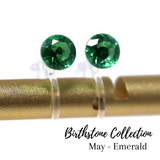 Plastic Post or Invisible Clip On Cubic Zirconia Emerald Earrings, 5mm May Birthstone
