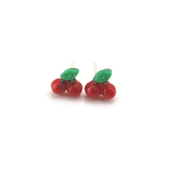 Plastic Post or Invisible Clip On Metal Free Tiny Cherry Earrings, 5mm