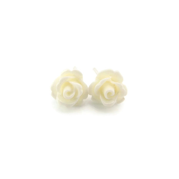 9mm Rose Floral Earrings on Metal Free Plastic Posts or Invisible Clip Ons