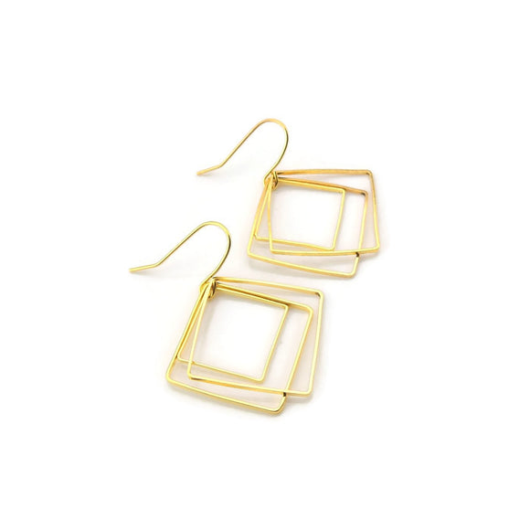 Dangle Earrings on Plastic Hook or Invisible Clip On, Offset Square