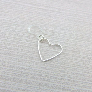 Dangle Earrings, Plastic Hook or Invisible Clip On, Floating Heart