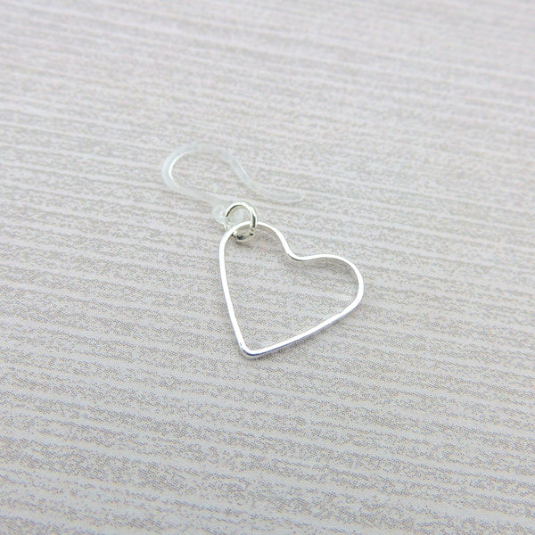 Open Heart Shape Dangle Earrings on Nickel-Free Stainless Steel