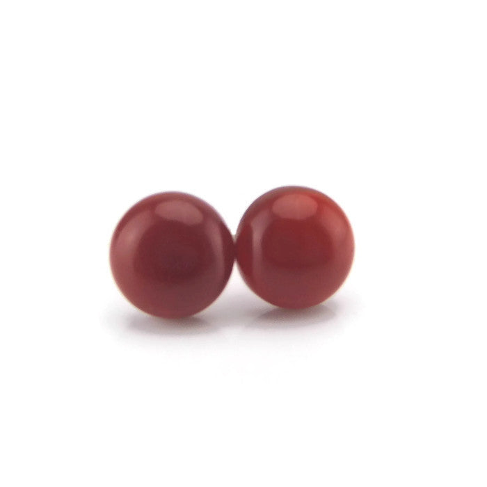 10mm Red Agate Natural Stone Earrings on Metal Free Plastic Posts or Invisible Clip On