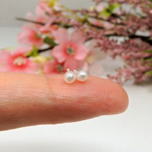 3mm Tiny Simulated Pearl Earrings on Plastic Posts for Metal Sensitive