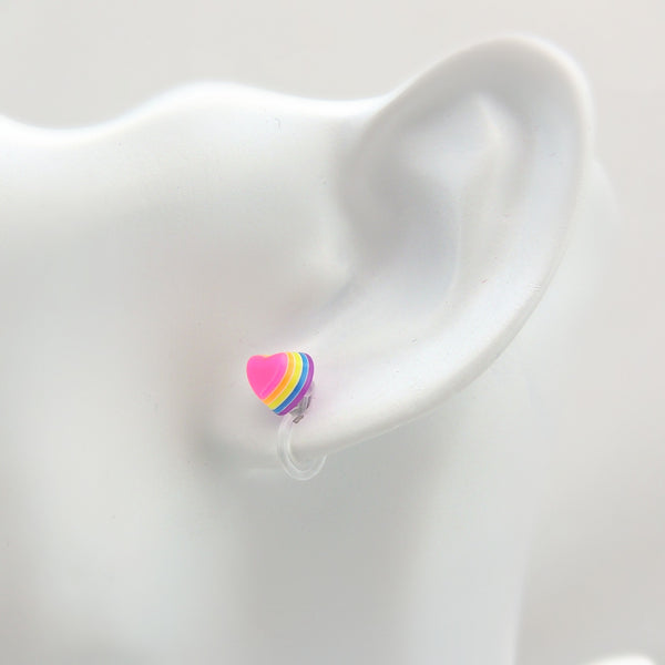 Pretty Smart earrings plastic post metal free 3D rainbow hearts