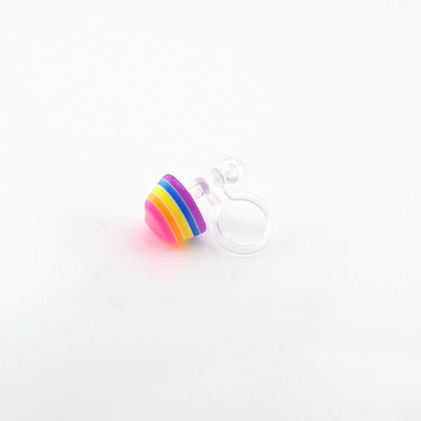 Pretty Smart earrings invisible clip on metal free 3D rainbow hearts