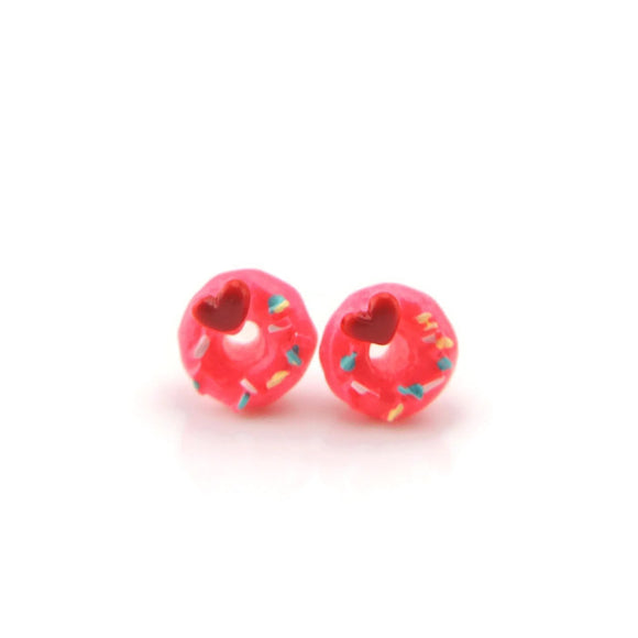 Plastic Post Earrings or Invisible Clip On Metal Free Pink Donut Studs 10mm