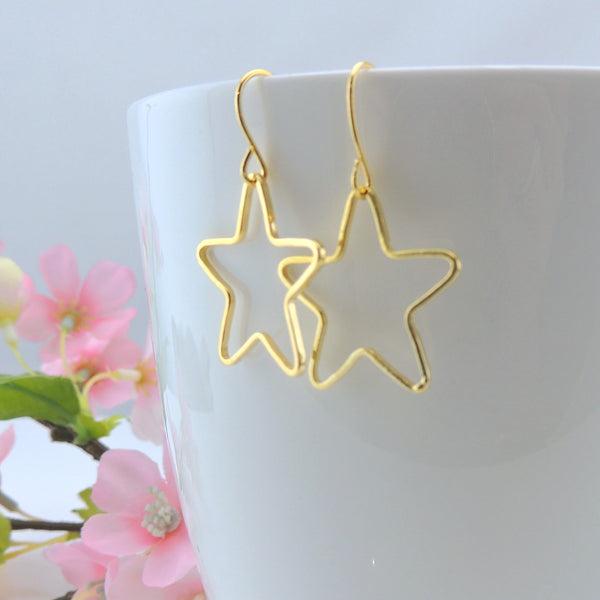 Open Star Shape Dangle Earrings on Nickel-Free Stainless Steel