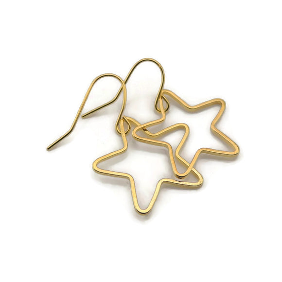 Dangle Earrings Plastic Hook or Invisible Clip-On, Open Star Shape