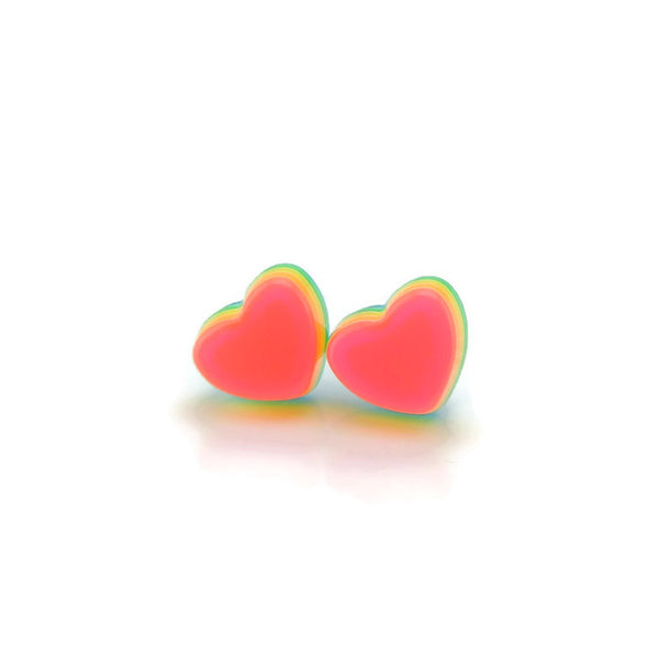 3D Rainbow Heart Hypoallergenic Earrings, Metal Free Plastic Posts or Invisible Clip On, 12mm
