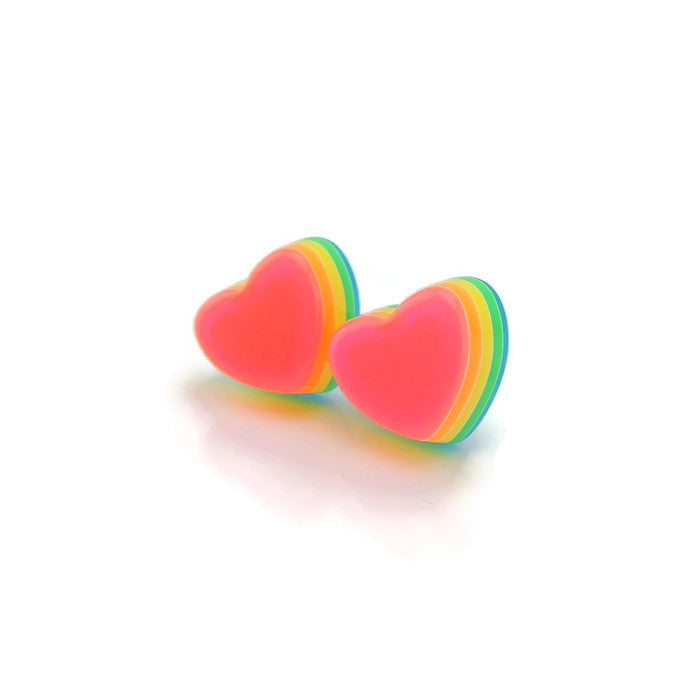 12mm Layered Rainbow Heart Earrings