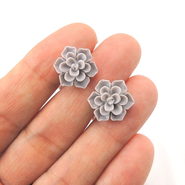 Succulent Earrings on Metal Free Plastic Posts for Sensitive Ears