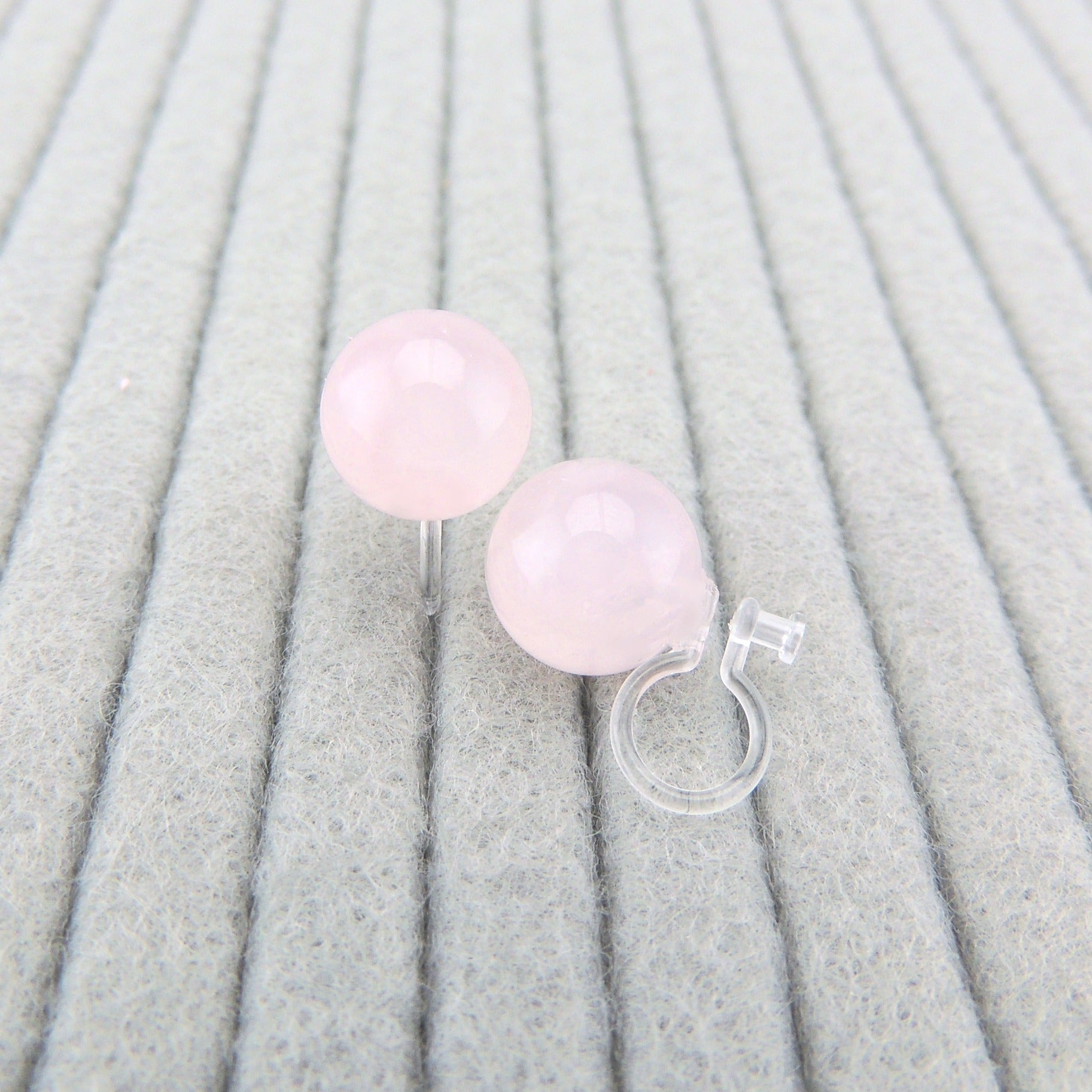 10mm Rose Quartz Stone Earrings, Metal Free Plastic Post or Invisible Clip On, Pale Pink