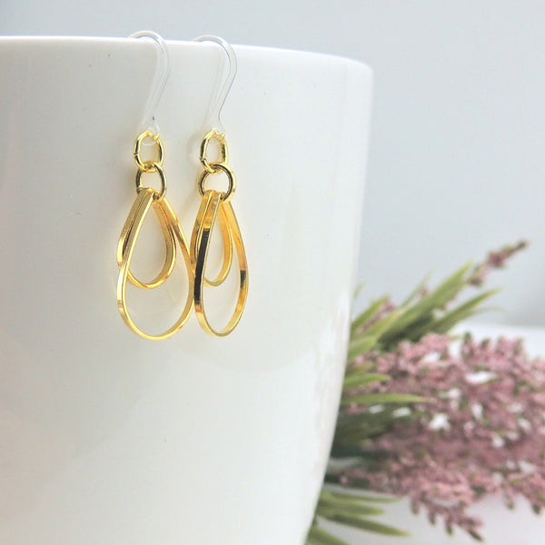 Double Open Teardrop Dangle Earrings on Nickel-Free Stainless Steel