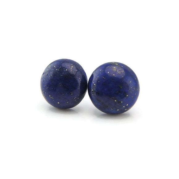 Plastic Posts or Invisible Clip On Earrings Lapis Lazuli Stone 12mm