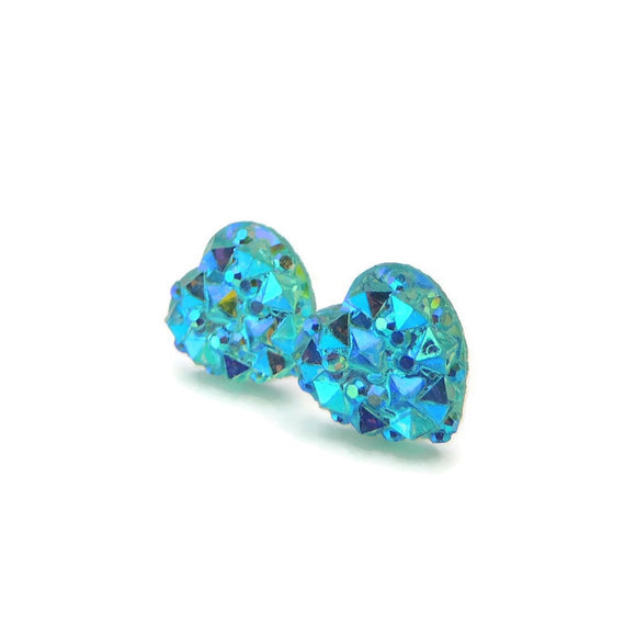 Plastic Post or Invisible Clip On Sparkly Heart Earrings 10mm