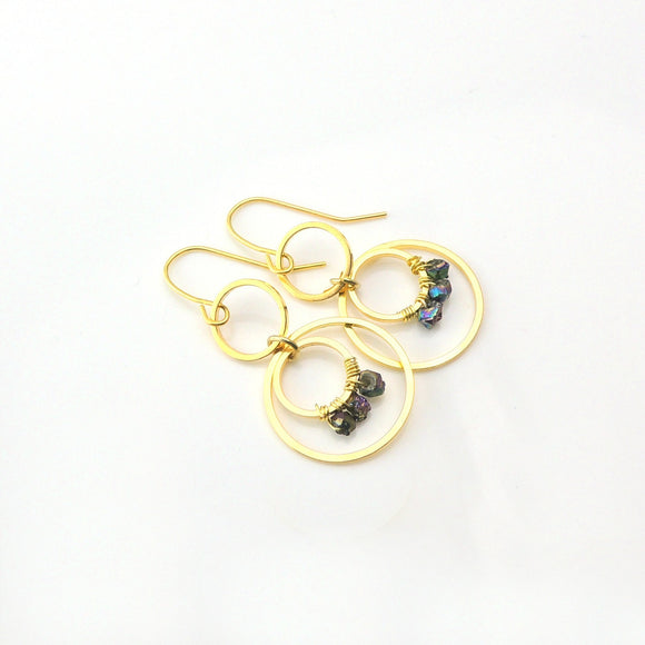 Dangle Earrings, Gold-Tone Circles with Citrine Lustre Stone Nuggets