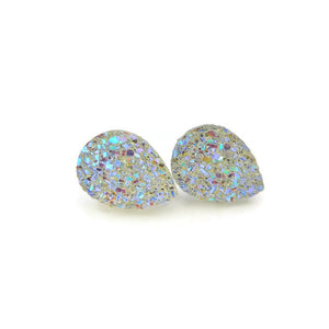 Plastic Posts or Invisible Clip On Teardrop Druzy Earrings 14mm