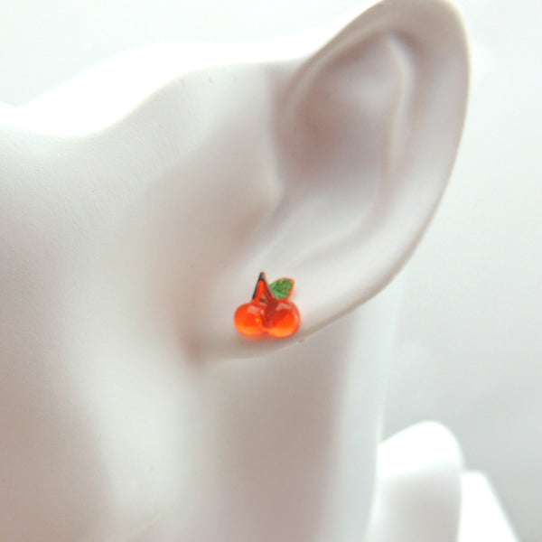 10mm Cherry Earrings Metal Free Plastic Post or Invisible Clip On