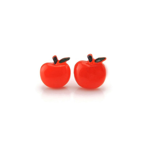 Plastic Post or Invisible Clip On Metal Free Red Apple Earrings 10mm