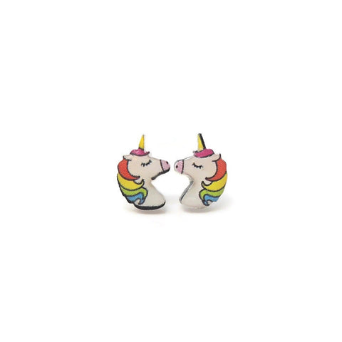 Rainbow Unicorn Earrings, Plastic Post or Invisible Clip On, 12mm Metal Free