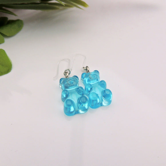 Dangle Earrings, Invisible Clip On or Plastic Hooks Gummy Bear