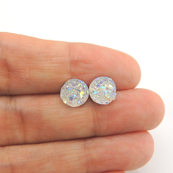 Clear Iridescent Smart Earrings Plastic Post Jewelry Nickel Free Hypoallergenic Non-Pierced Clip On Girls Fashion