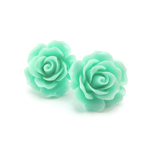Plastic Post Metal Free Large Rose Floral Earrings, 20mm