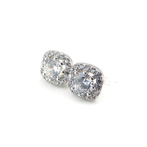 10mm Rhombus Clear Glass Rhinestones Halo Invisible Clip On Earrings