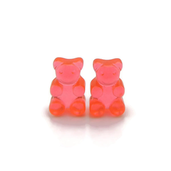 Gummy Bear Earrings on Plastic Posts for Metal Sensitive Ears or Invisible Clip On for Non-Pierced Ears, Your Choice of Color