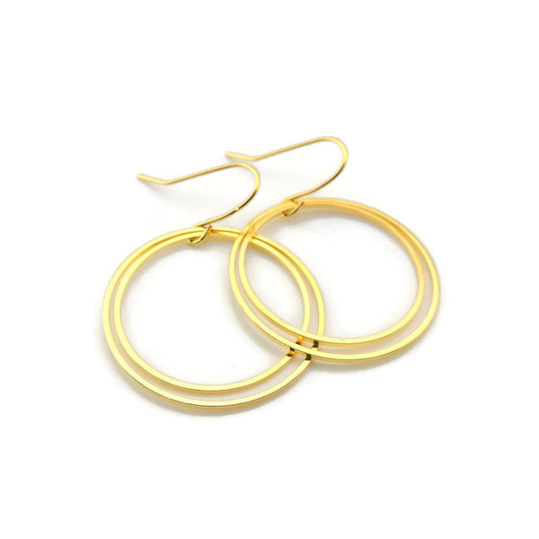 Two Hollow Circles Dangle Earrings on Nickel-Free Stainless Steel, Gold or Silver-Tone
