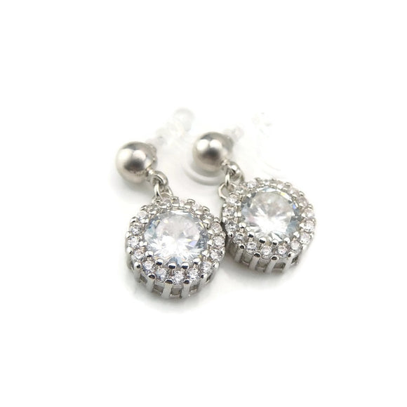 Invisible Clip On Earrings, Halo Clear Glass Rhinestone Drop