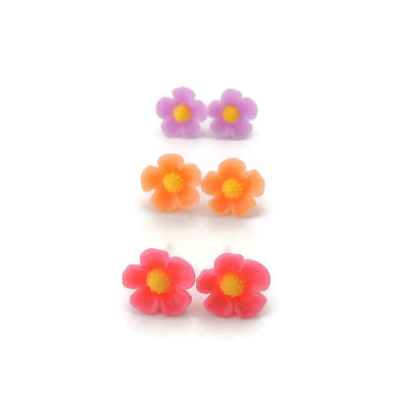 Plastic Post or Invisible Clip On Metal Free Floral Earrings 11mm