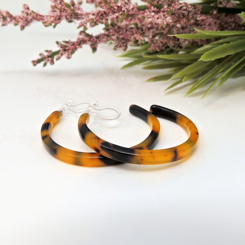 35mm Acetate Hoop Earrings for Non-Pierced Ears, Faux Tortoise Shell Dark