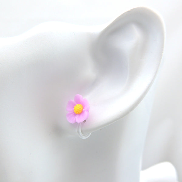 11mm Flower Earrings Metal Free Plastic Post or Invisible Clip On