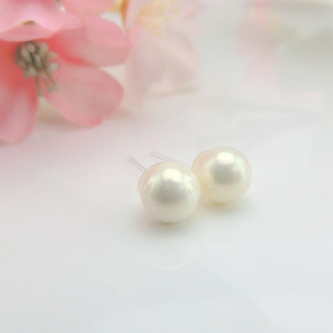 6mm Shell Pearl Earrings, Metal Free Plastic Post or Invisible Clip On, White