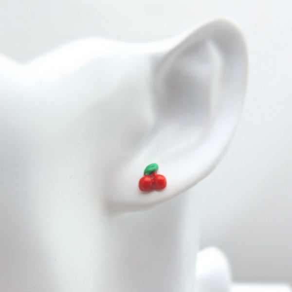 Tiny 5mm Cherry Earrings, Metal Free Plastic Post Studs for Metal Sensitive Ears