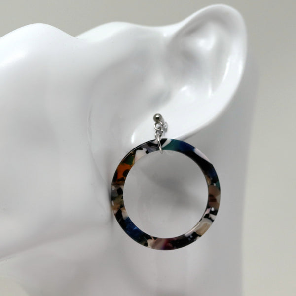 Acetate Hoop Drop Dangle Earrings , Invisible Clip On or Plastic Hooks