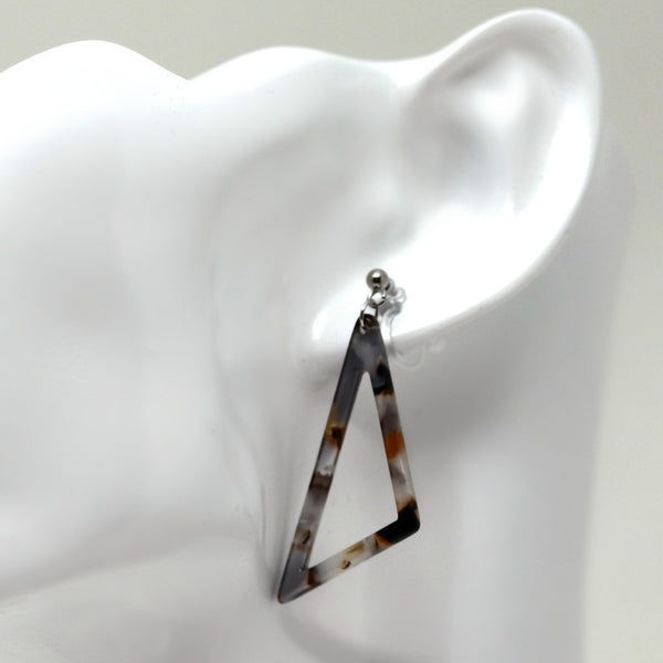 Acetate Scalene Triangle Dangle Earrings , Invisible Clip On or Plastic Hooks