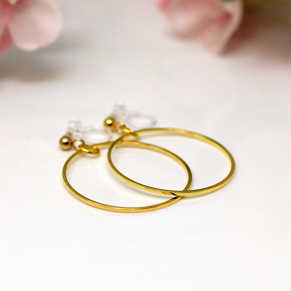 Invisible Clip On Dangle Hoop Earrings for Non-Pierced Ears, 28mm