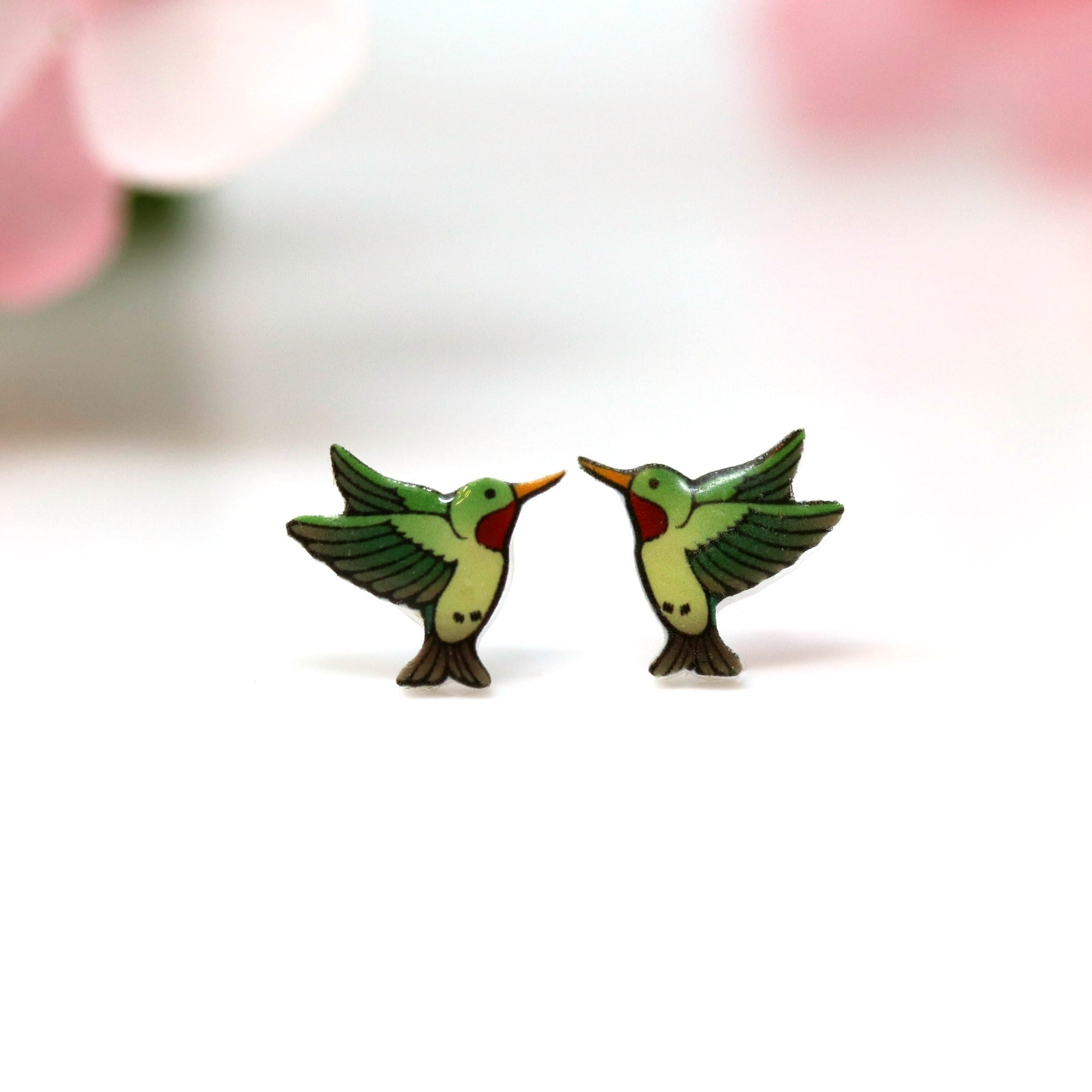 Hummingbird Stud Earrings, Plastic Post or Invisible Clip On, 11mm Metal Free