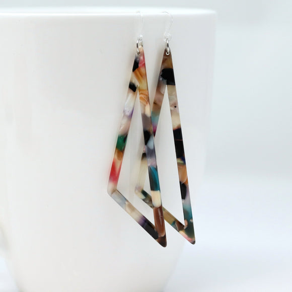 Invisible Clip On or Plastic Hooks Dangle Earrings, Acetate Scalene Triangle, 80mm