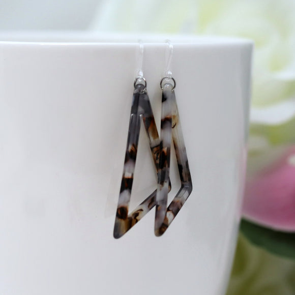 Invisible Clip On or Plastic Hooks Dangle Earrings, Acetate Scalene Triangle, 50mm