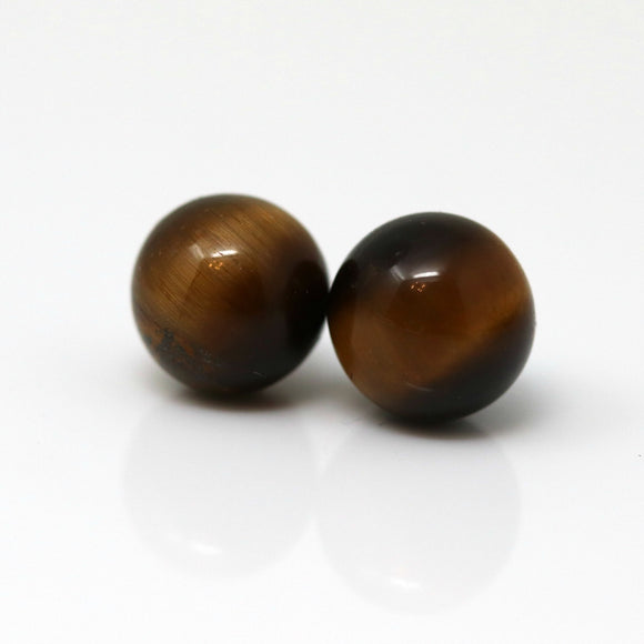 Plastic Post or Invisible Clip On Tiger Eye Stone Earrings, Metal Free 8mm