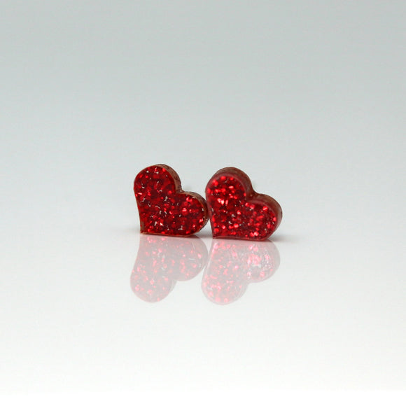 Plastic Post or Invisible Clip On, Metal Free Glitter Heart Earrings, 10mm