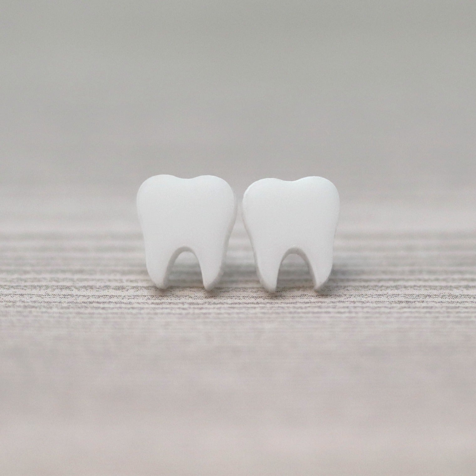 Tooth Earrings, Plastic Post or Invisible Clip On, 10mm Metal Free